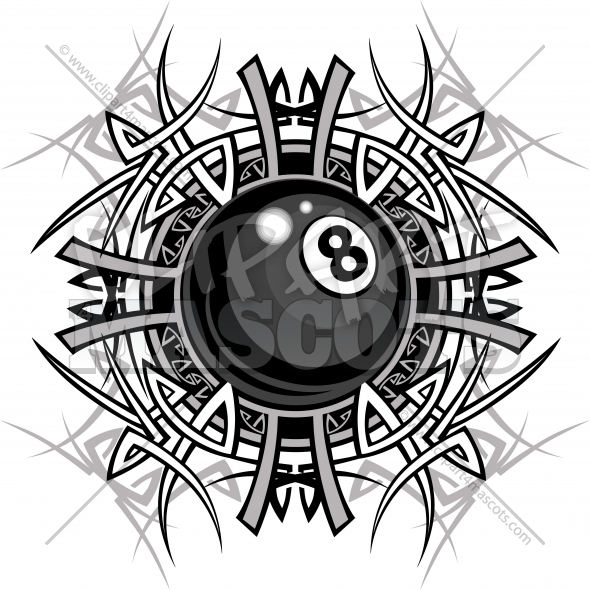 Billiards Artwork Eight ball Tribal Graphic Image