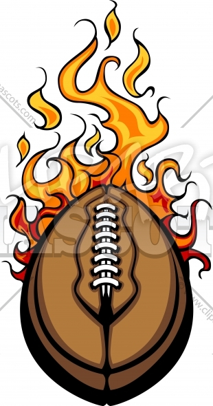 American Football Ball Flaming Vector Cartoon