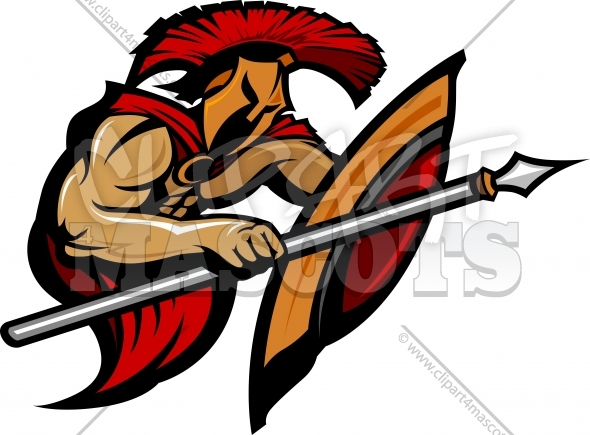 Spartan Warrior Mascot with Spear and Shield Vector Illustration