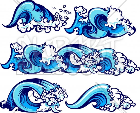 Crashing Water Waves Vector Illustrations