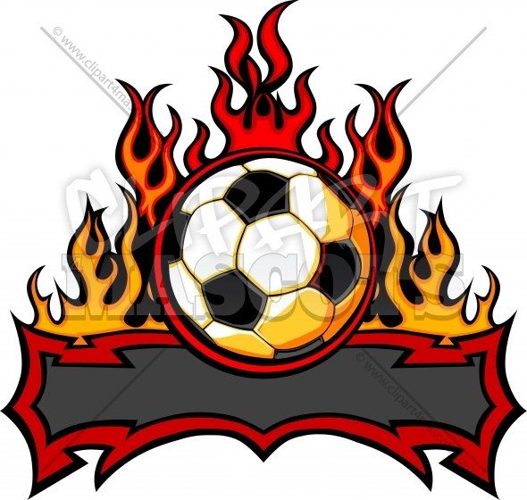 Soccer Template with Flames Vector Image