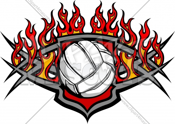 Volleyball Ball Template with Flames Vector Image