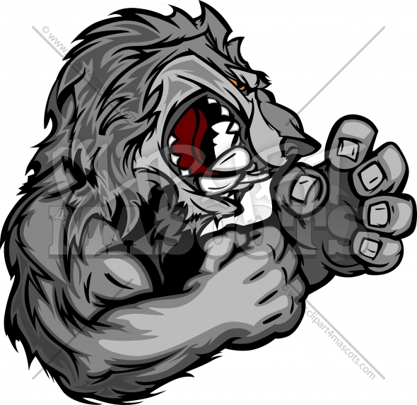 Graphic Vector Image of a Wolf or Coyote Mascot with Fighting Hands