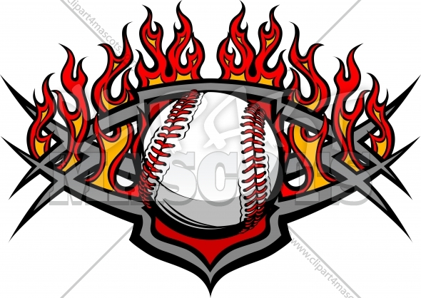 Baseball Softball Ball Template with Flames Vector Image