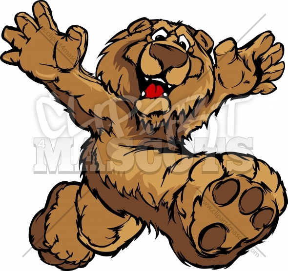 Graphic Vector Image of a Happy Running Bear Mascot