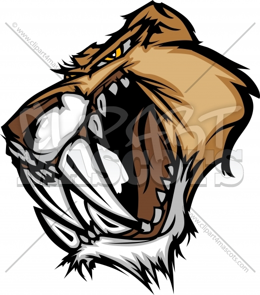 Cougar Saber Tooth Cat Mascot Head Vector Graphic