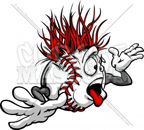 Baseball Madness Crazy Cartoon Face with Hands Vector Image