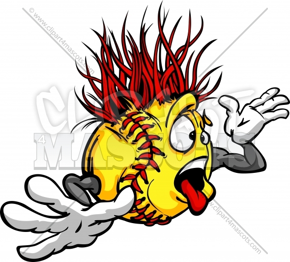 Softball Madness Clipart Image of a Crazy Fastpitch ...
