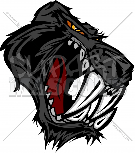 Panther Saber Tooth Cat Mascot Head Vector Graphic