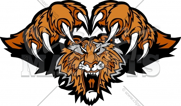 Tiger Claws Mascot Pouncing Graphic Illustration