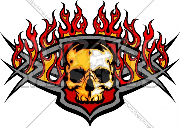 Skull Template with Flames Vector Image