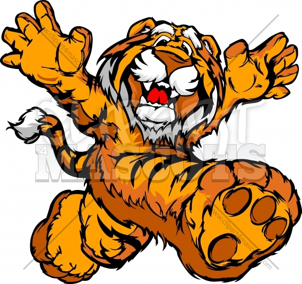 Graphic Vector Image of a Happy Running Tiger Mascot