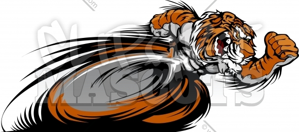 Running Tiger Mascot Graphic Vector Image