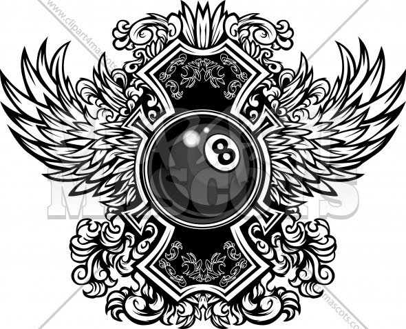 Eightball ornate graphic graphic vector logo for Pool design graphic