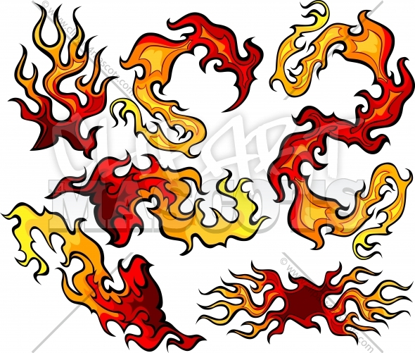 Fire and Flames Vector Icon Ilustrations