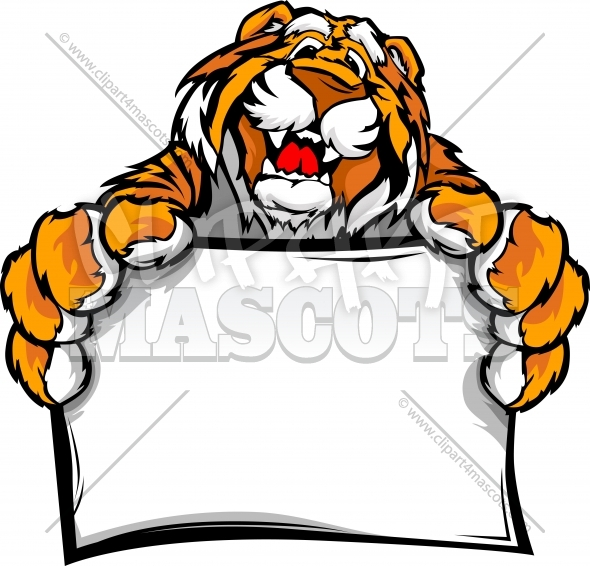 Happy Tiger Logo of a Tiger Mascot holding sign