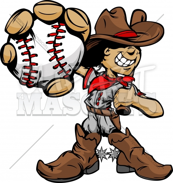Cowboy Baseball Cartoon Kid Player Holding Baseball