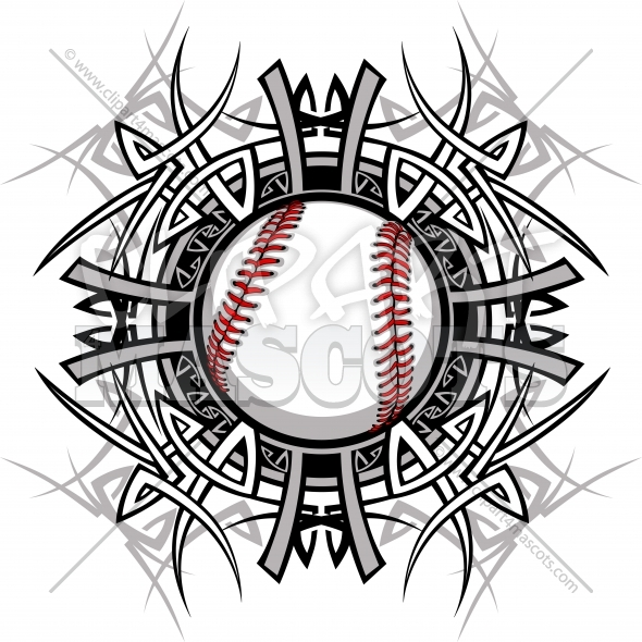 Baseball Tribal Logo Graphic Image