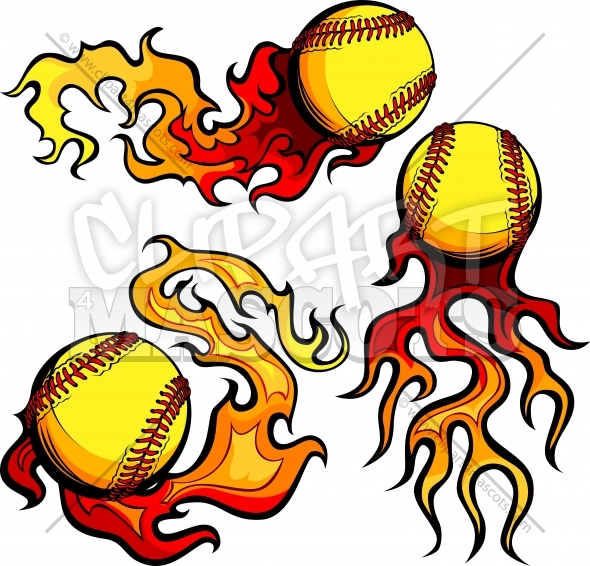 Flaming Fastpitch Softball Clipart Vector Images