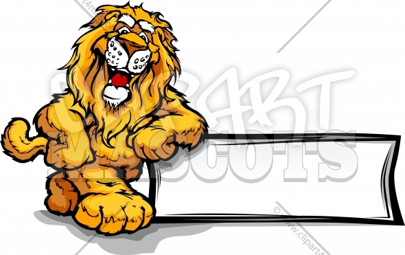 Lion Cartoon Clipart of a Happy Lion Mascot Leaning on a Sign