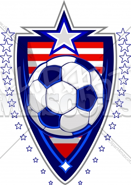 Memorial Day Soccer Ball with Flags and Stars on Badge