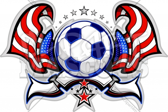 Fourth of July Soccer design with Flags and Stars
