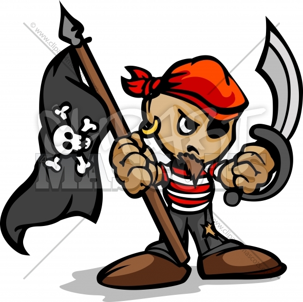 Cartoon Pirate Standing with Sword and Flag Vector Illustration
