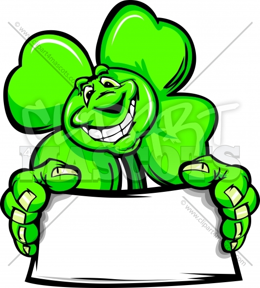 St Patricks Day Clipart Happy Shamrock Holding a Sign
