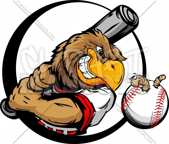 Bird Baseball Cartoon Player Holding Baseball Bat