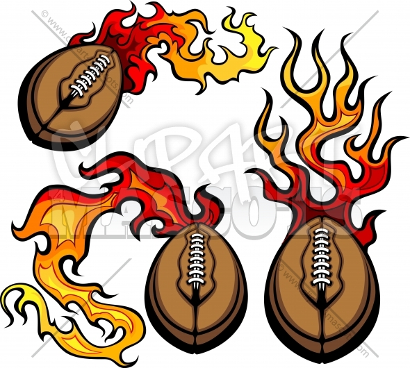Football Flames Vector Clipart Logos