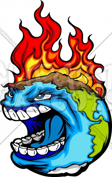 Burning Earth Cartoon Graphic Vector Clipart Image