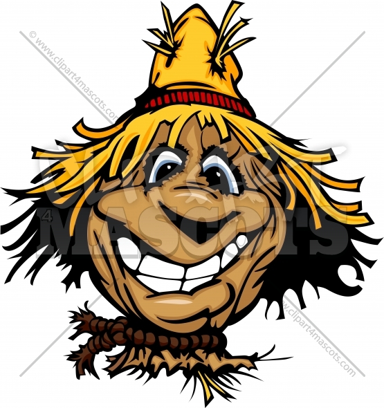 Scarecrow Clipart with Straw Hat Cartoon Illustration