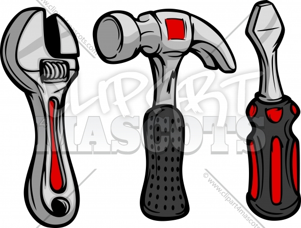 Tools Clipart Cartoon Wrench Hammer and Screw Driver Vector Illustration