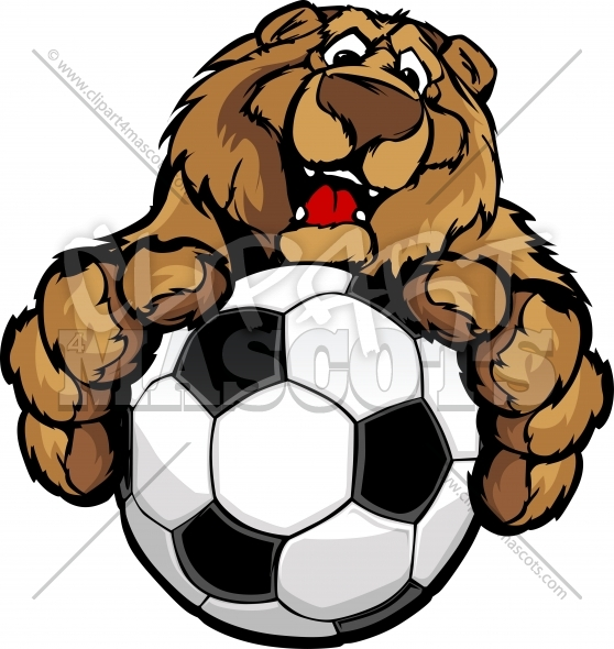 Soccer Bear Clipart Mascot with Soccer Ball Vector Illustration