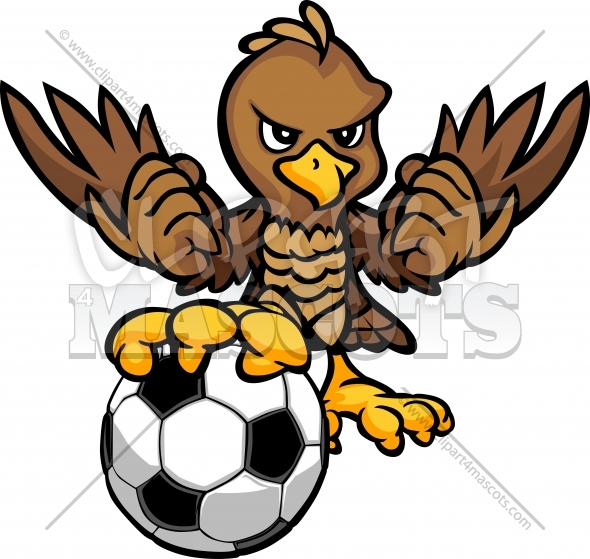 Hawk Soccer Cartoon Vector Illustration