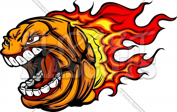 Basketball Flames Cartoon Vector Clipart Image