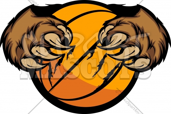 Bear Claw Basketball Clipart Vector Illustration
