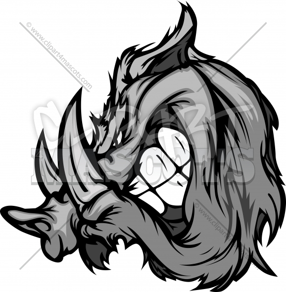 Boar Mascot Cartoon Face Clipart Image
