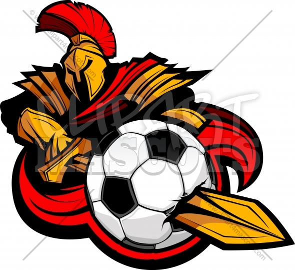 Trojan Soccer Clipart with Sword stabbing Soccer Ball Vector Image