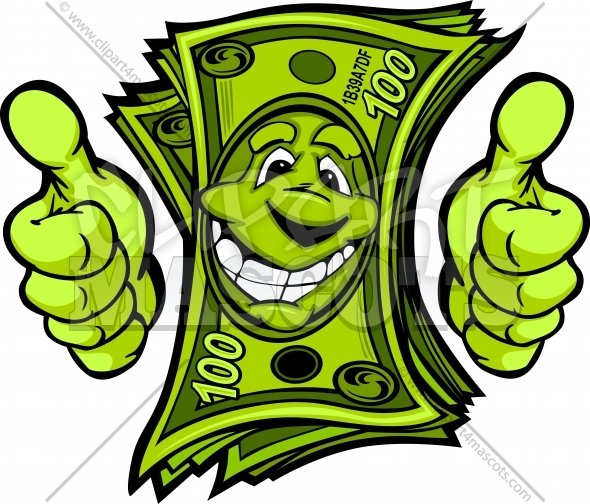 Dollar Bill Clipart with Hands giving Thumbs Up Gesture Cartoon
