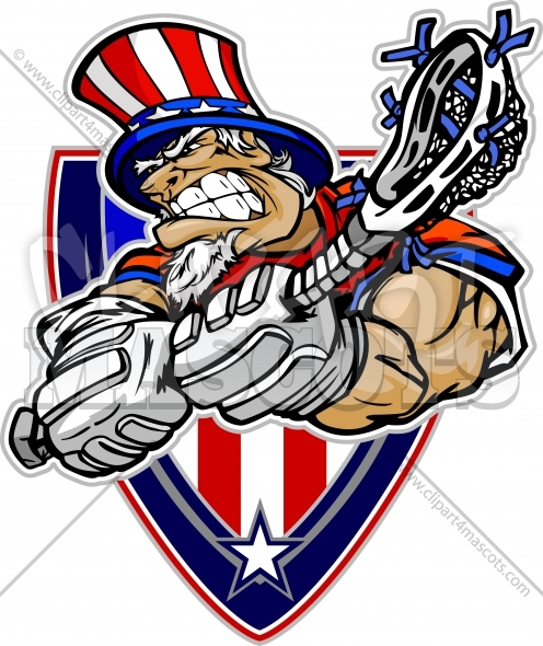 Memorial Day Lacrosse Player – Uncle Sam Cartoon Clipart Image