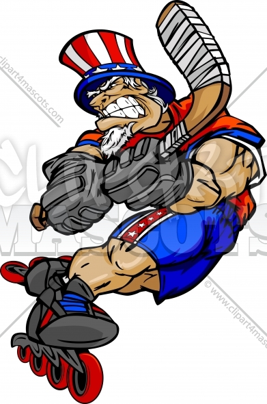 Roller Hockey Uncle Sam Clipart Graphic Vector July 4th ...