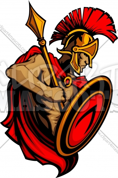 Greek Spartan or Trojan Vector Mascot with Spear and Shield Clipart Image
