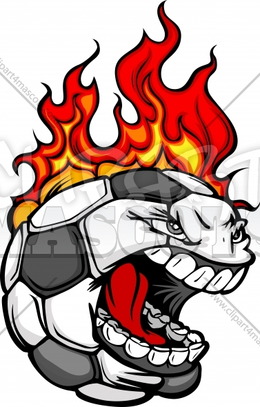 Flaming Soccer Ball Face with Flames Vector Image
