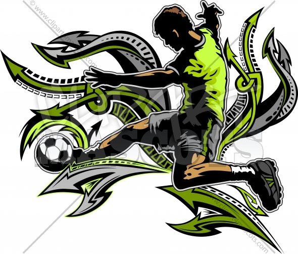 Soccer Design of Soccer Player Kicking Ball Silhouette on Arrows Background Vector Clipart Image