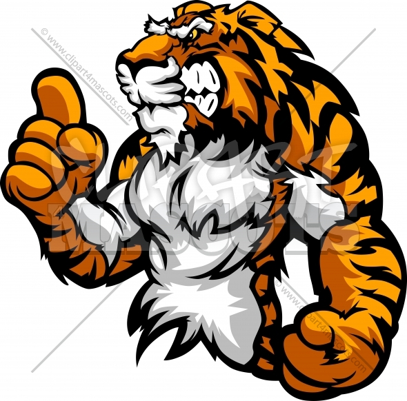 Strong Tiger Clipart Mascot Holding up Victory Finger Clipart Image