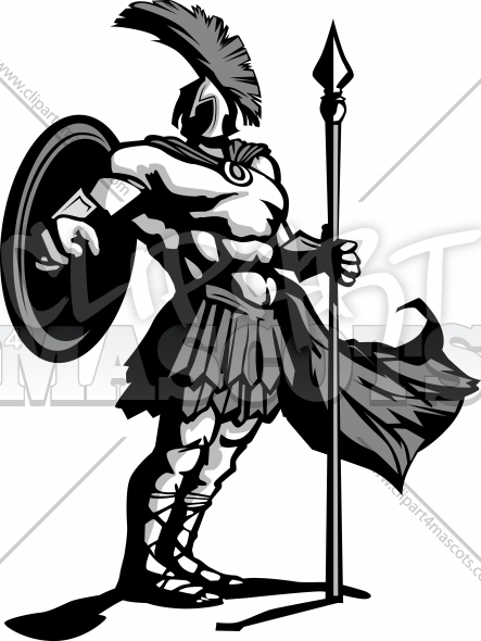 Spartan Logo – Trojan Mascot with Spear and Shield Vector Illustration
