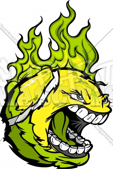 Flaming Tennis Ball Face Vector Clipart Image