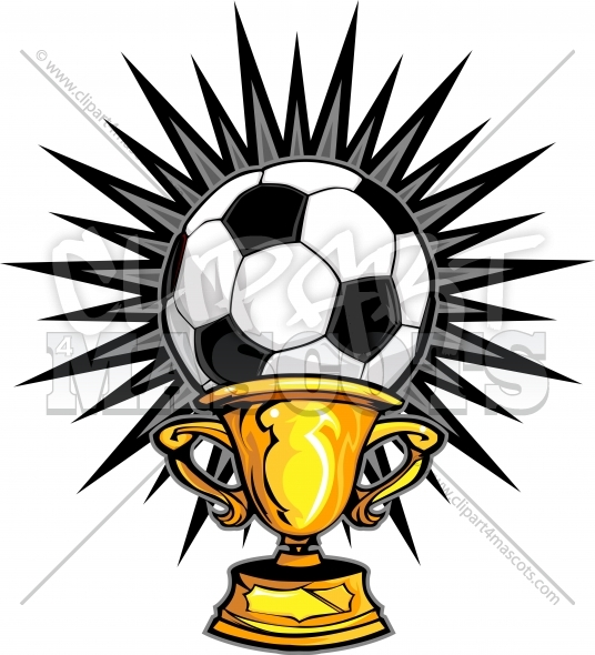 Soccer Champion Logo Trophy Clipart Vector Image