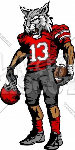 Football Wildcat Player holding Helmet Vector Image